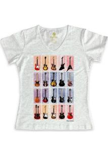 Camiseta Cool Tees Gola V Feminina - Feminino-Mescla Claro