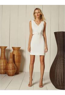 Vestido Tecido Com Cinto Branco Off White - Lez A Lez