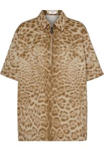Burberry Camisa Com Animal Print - Neutro