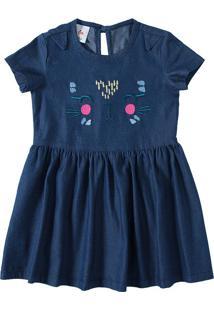 Vestido Jeans Com Bordado Menina Zig Zig Zaa Azul Claro - 1