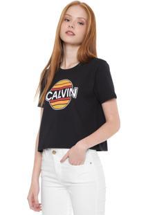 Camiseta Calvin Klein Jeans Cropped Sunny Preta