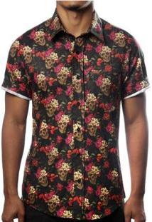 Camisa Camaleão Urbano Caveira Mexicana Floral Masculina - Masculino-Preto