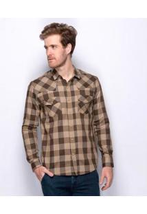 Camisa Social Slim Teodoro Xadrez Western Algodão Masculina - Masculino-Marrom+Bege