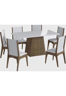 Conjunto Mesa C/ Base 6 Cadeiras Marrom Móveis Canção