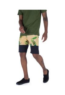 Bermuda Oakley Tropical Midsum - Masculina - Preto/Amarelo