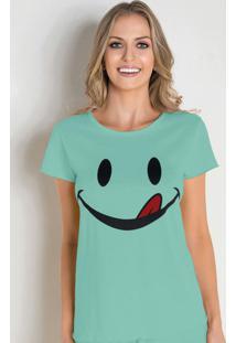 Camiseta De Pijama Em Malha Verde Água