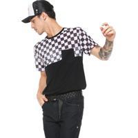 d446f910a0 Camiseta Ride Skateboard Manga Curta Xadrez Race Preta Branco