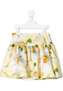 Monnalisa Saia Floral - Amarelo