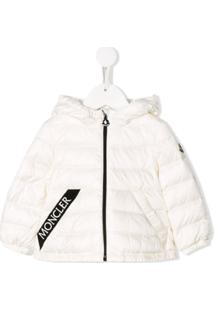 Moncler Kids Logo-Tape Down Jacket - Branco