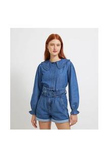 Camisa Manga Longa Em Jeans Com Babados   Blue Steel   Azul   Pp