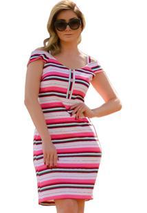 1bee918321a99 ir para a loja. Vestido Mamorena Alcinha Det. Botões Listrado Pink