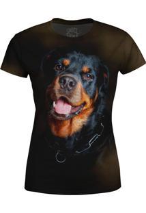 Camiseta Baby Look Rottweiler Over Fame Preta - Preto - Feminino - Poliã©Ster - Dafiti