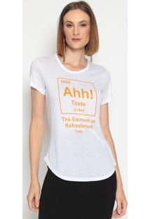 """Camiseta """"Ahh!""""- Branca & Laranja- Coca-Colacoca-Cola"""