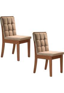 Conjunto Com 2 Cadeiras Vermont Chocolate E Bege