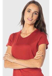 Camiseta Cora Em Modal Decote Redondo Terracota