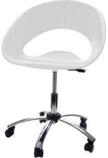 Cadeira One Giratoria Cromada C/Braco Cor Branco - 22656 Sun House