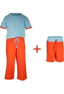 Pijama Infantil Gumii 3 Peças Masculino - Masculino-Laranja+Azul