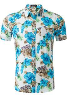 Camisa Estampada Masculina - Floral Azul Xg