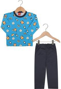 Pijama Kyly Longo Menino Azul
