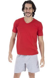 a59127946 Pijama Curto Inspirate Vermelho E Cinza