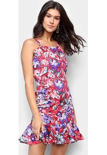 Vestido Los Wear Curto Babado Floral - Feminino-Vermelho