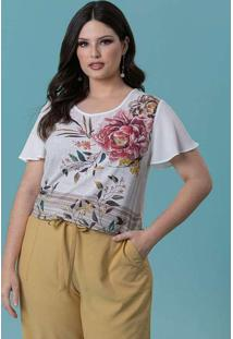 T-Shirt Almaria Plus Size New Umbi Estampada Branc