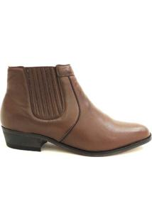 Botina Social Masculina Em Couro Riber Shoes Com Elastico - Masculino-Marrom
