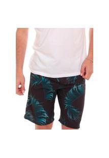 Bermuda Osklen Masculina D'Água Surf Cyan Palms Preta
