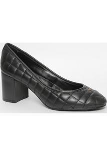Sapato Em Couro Matelassê Com Tag- Preto- Salto: 6,5Capodarte