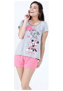 Pijama Feminino Short Doll Estampa Mickey Minnie Disney