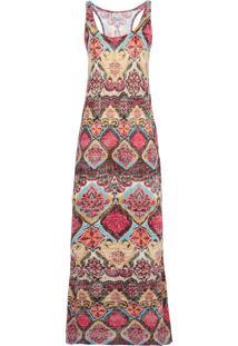 Vestido Longo Rosa Chá Arabesco Devorê
