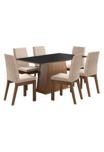 Sala De Jantar Madesa Rebeca Mesa Tampo De Madeira Com 6 Cadeiras Preta/Bege