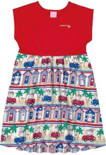 Vestido Hello Kitty Infantil Vermelho