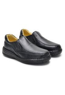 Sapato Anti Stres Masculina Couro Conforto Calce Macio Preto 37 Preto