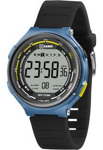 Relógio Digital Quartz Xmppd575Bxpx- Preto & Azul-X-Orient