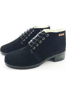 Bota Coturno Forrada Em Lã Quality Shoes Feminina Camurça Preto 39