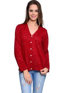 Casaco Básico Charme Tricot Flocado Vermelho