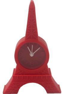 Relógio De Mesa Torre Eiffel Emborrachado Vermelho 12X8X2Cm - Tricae