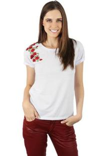 Camiseta Lat Rosas Feminina - Feminino-Branco