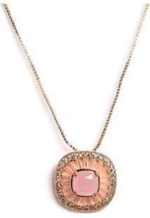 Colar Pingente Quadrado Com Zircônias Banho Em Ouro 18K - Feminino-Rosa