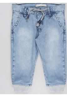 Calça Jeans Infantil Jogger Com Cordão Azul Claro