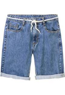 Bermuda Jeans Hering Tradicional Com Cadarço Masculina - Masculino-Azul