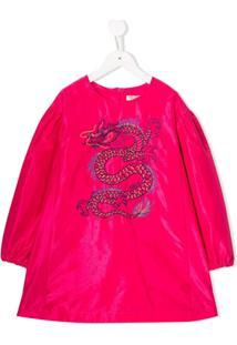 Kenzo Kids Vestido Com Logo Bordado - Rosa