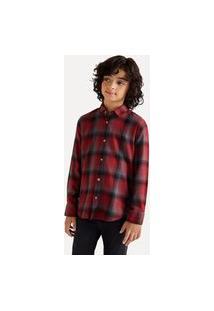 Camisa Mini Pf Ft Flanela Gradiente Reserva Mini Bordô