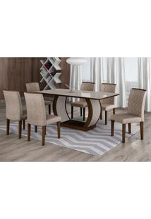 Conjunto De Mesa De Jantar Com 6 Cadeiras Maia Iii Suede Amassado Castor E Chocolate