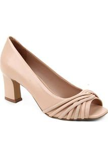 Peep Toe Couro Shoestock Tiras Rolete Salto Médio - Feminino-Nude