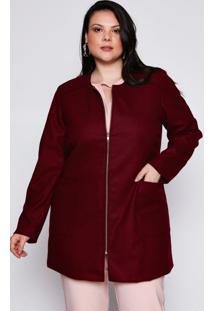 Casaco Almaria Plus Size Pianeta Lã Vinho