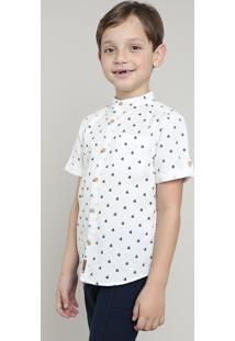 Camisa Infantil Estampada De Barco Com Bolso Manga Curta Gola Portuguesa Off White