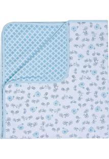 Manta Compose- Azul Claro & Branco- 80X90Cmpapi