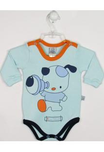 Body Bebê Manga Longa Cachorrinho - Masculino-Azul